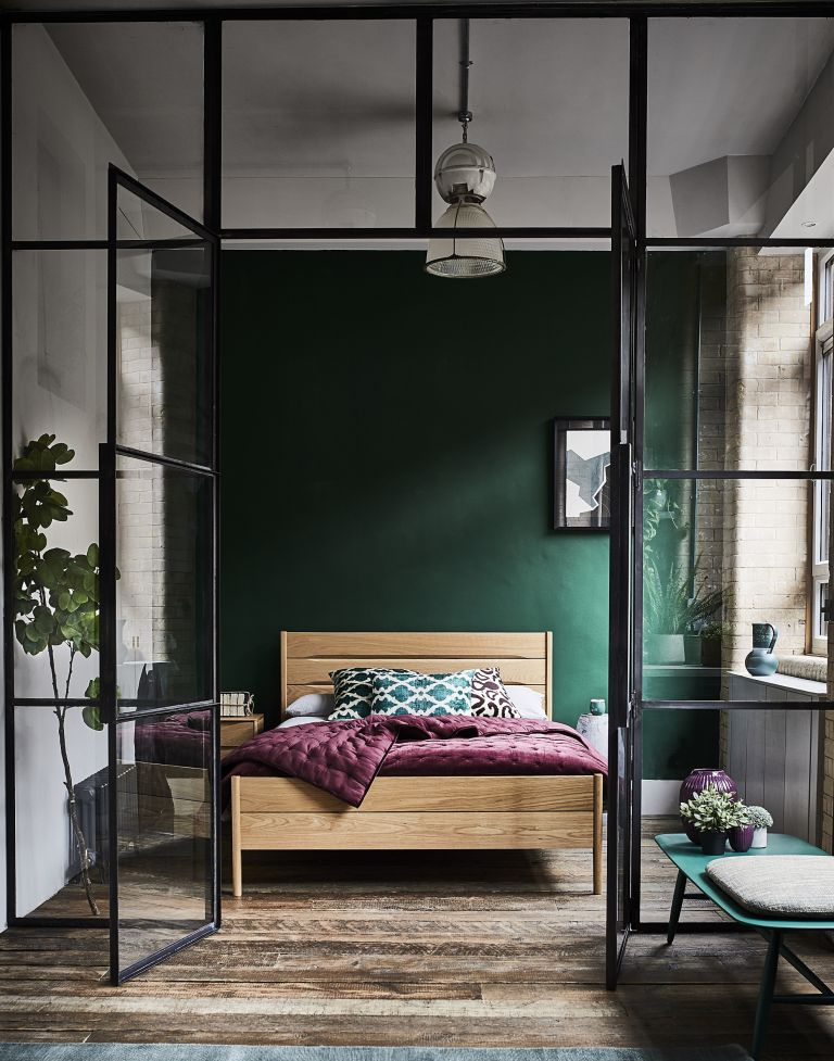 bedroom ideas for men with crittall doors, furniture by by ercol and green wall