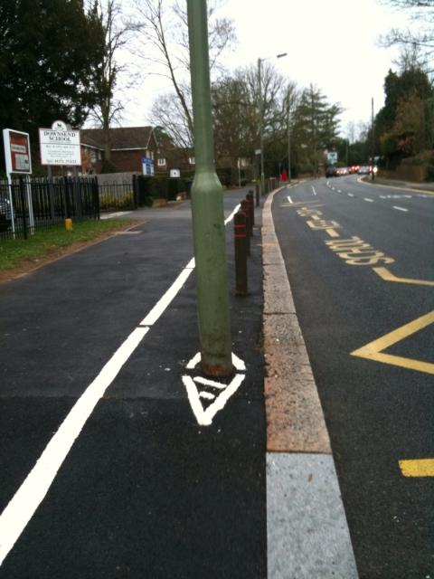 Cycle lane, Epsom Road, Leatherhead