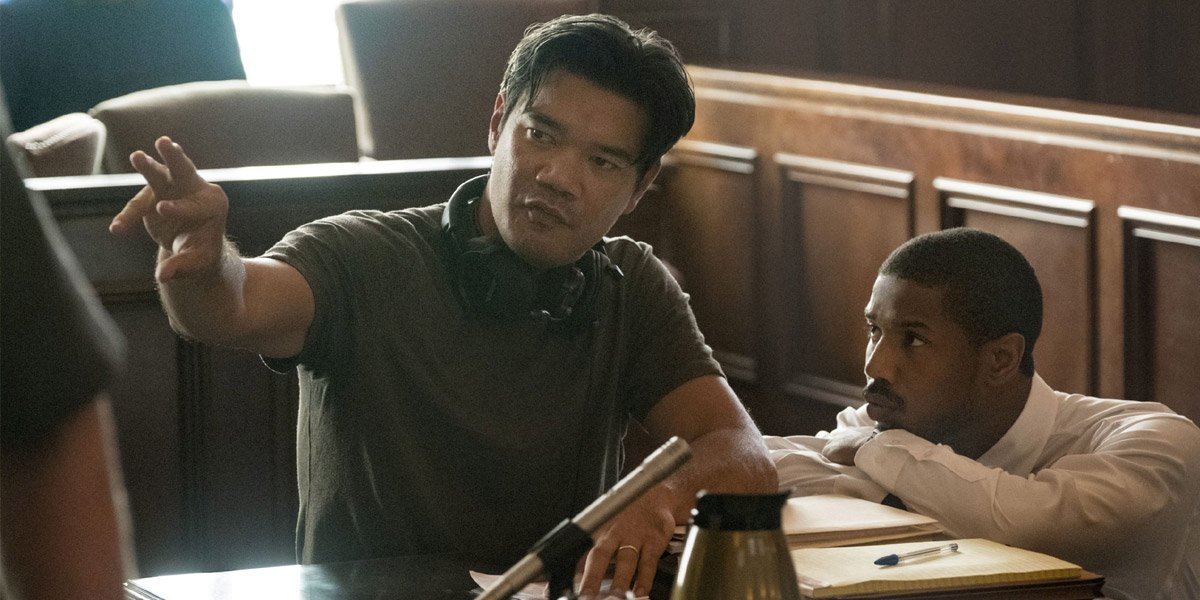 Destin Daniel Cretton on the set of Just Mercy with Michael B Jordan