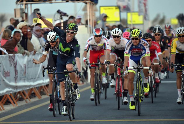 Jose-Joaquin Rojas wins stage one of the 2015 Tour of Qatar