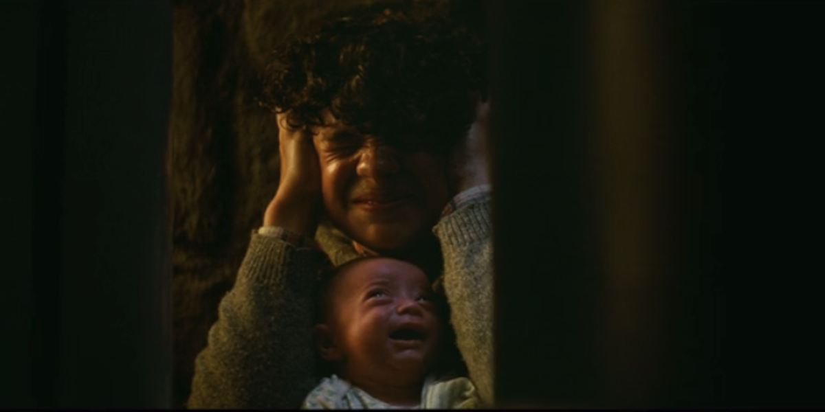 Noah Jupe and baby in Quiet Place 2