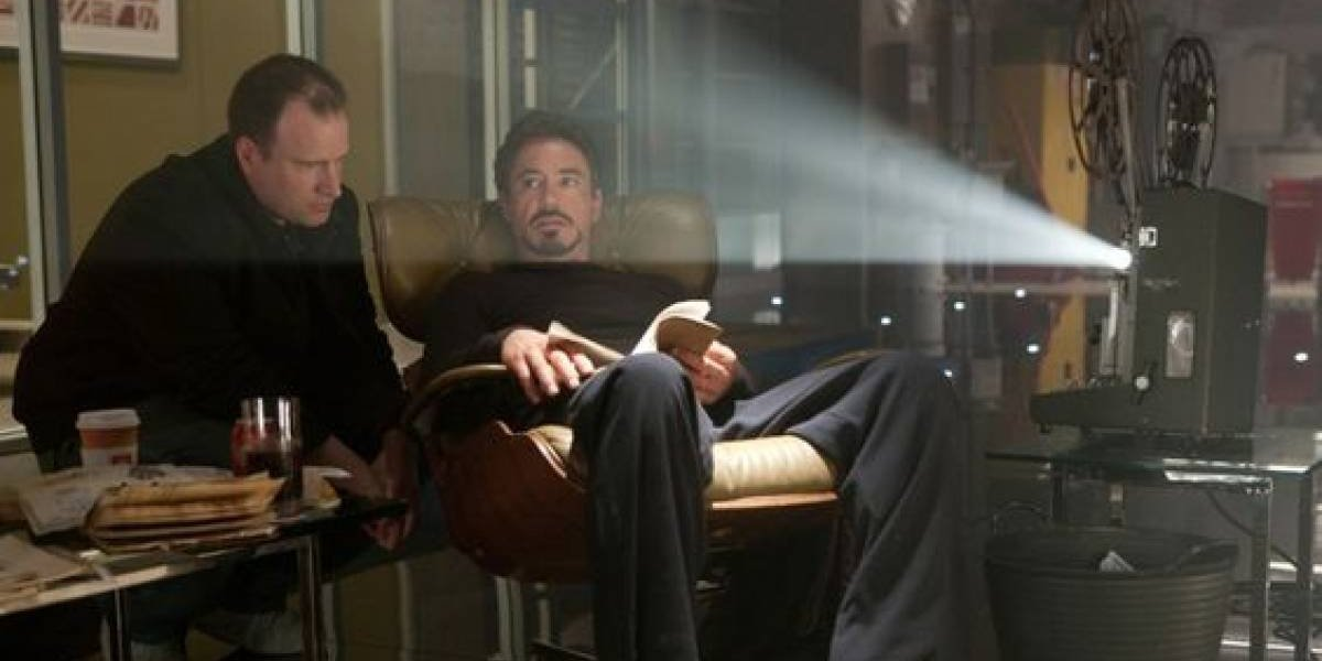 Kevin Feige with Robert Downey Jr on Iron Man 2 set