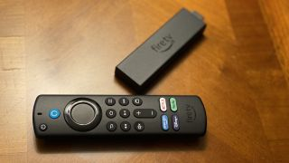 Amazon Fire TV Stick 4K Max on a coffee table