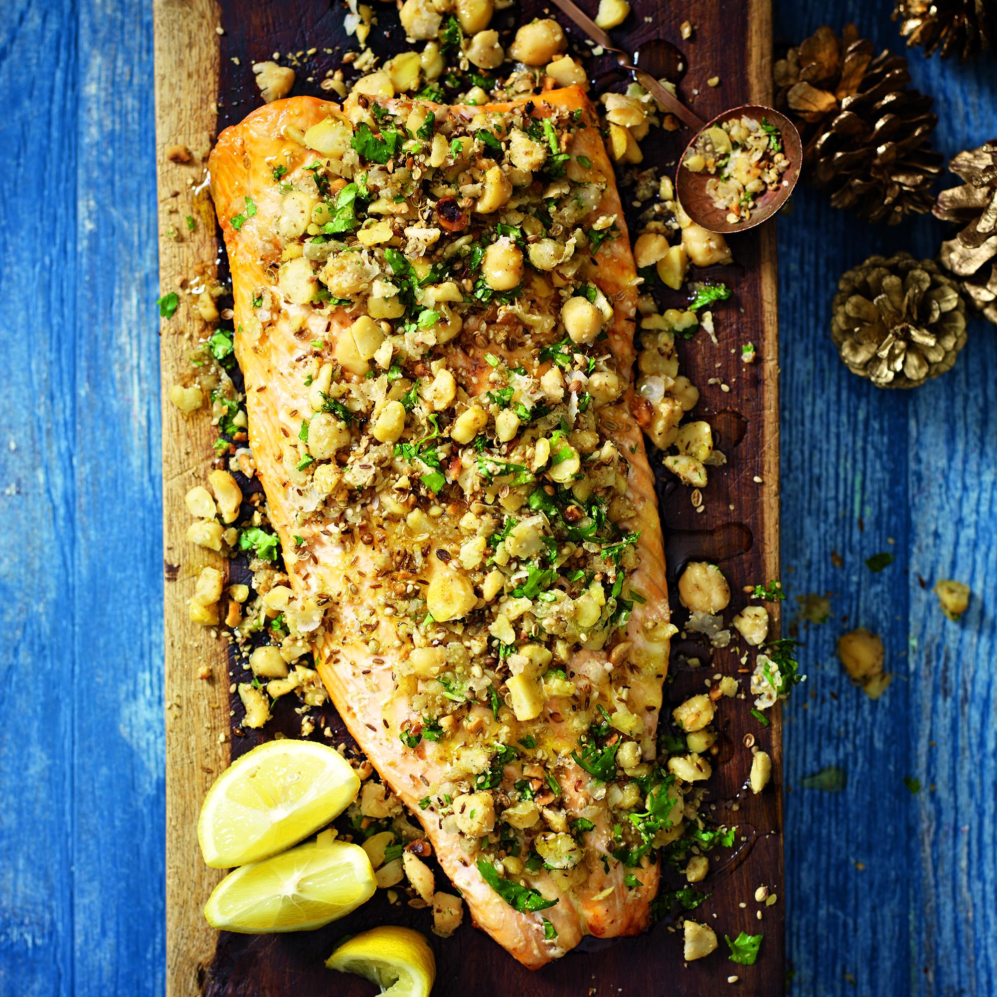 Roast Salmon With Chickpea Dukkah