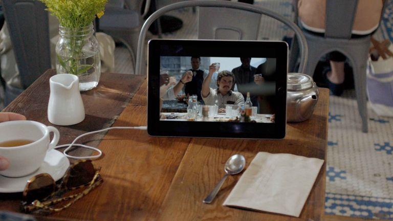 Best Netflix series: Netflix on tablet in cafe
