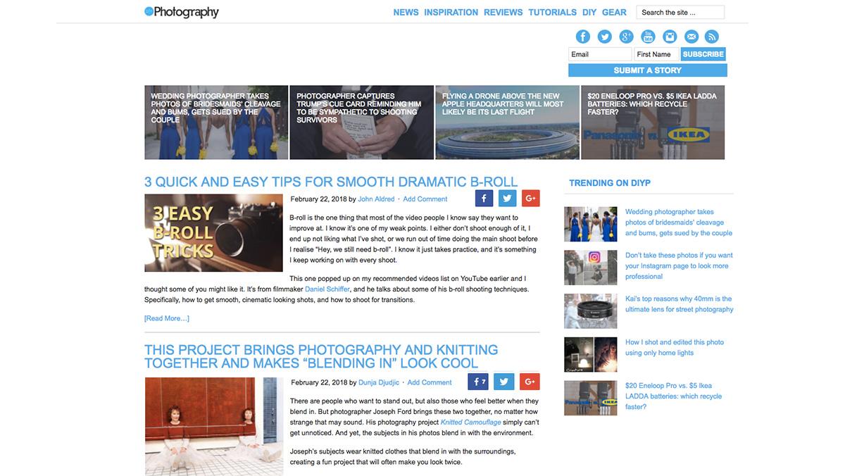 DIY Photography website screenshot