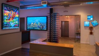 The showroom is separated into a dozen different vignettes that demonstrate how Leyard and Planar displays can be integrated into various commercial settings, with Brightsign media players and Hypersign software running the backend.