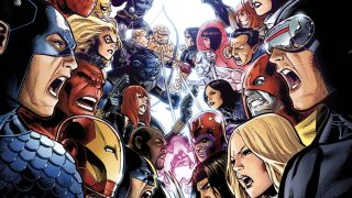 image of the Avengers fighting the X-Men