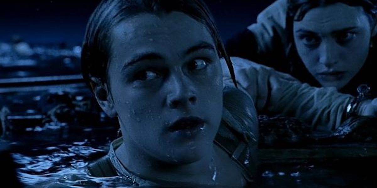 Leonardo DiCaprio raft scene in Titanic