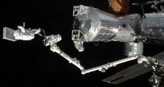 Flight Engineer Akihiko Hoshide rides on the station's robotic arm.