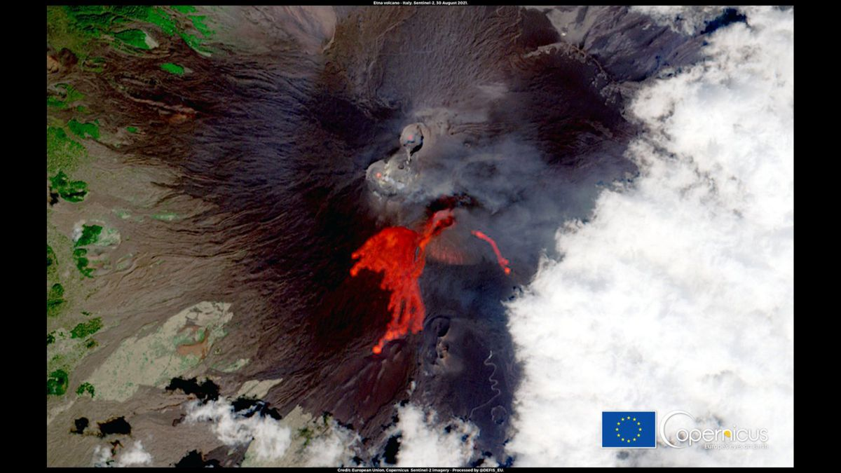 Mount Etna volcano erupts for 50th time of 2021 in this satellite photo
