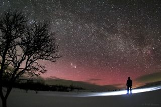 PanSTARRS and Andromeda Galaxy Sweden Heden