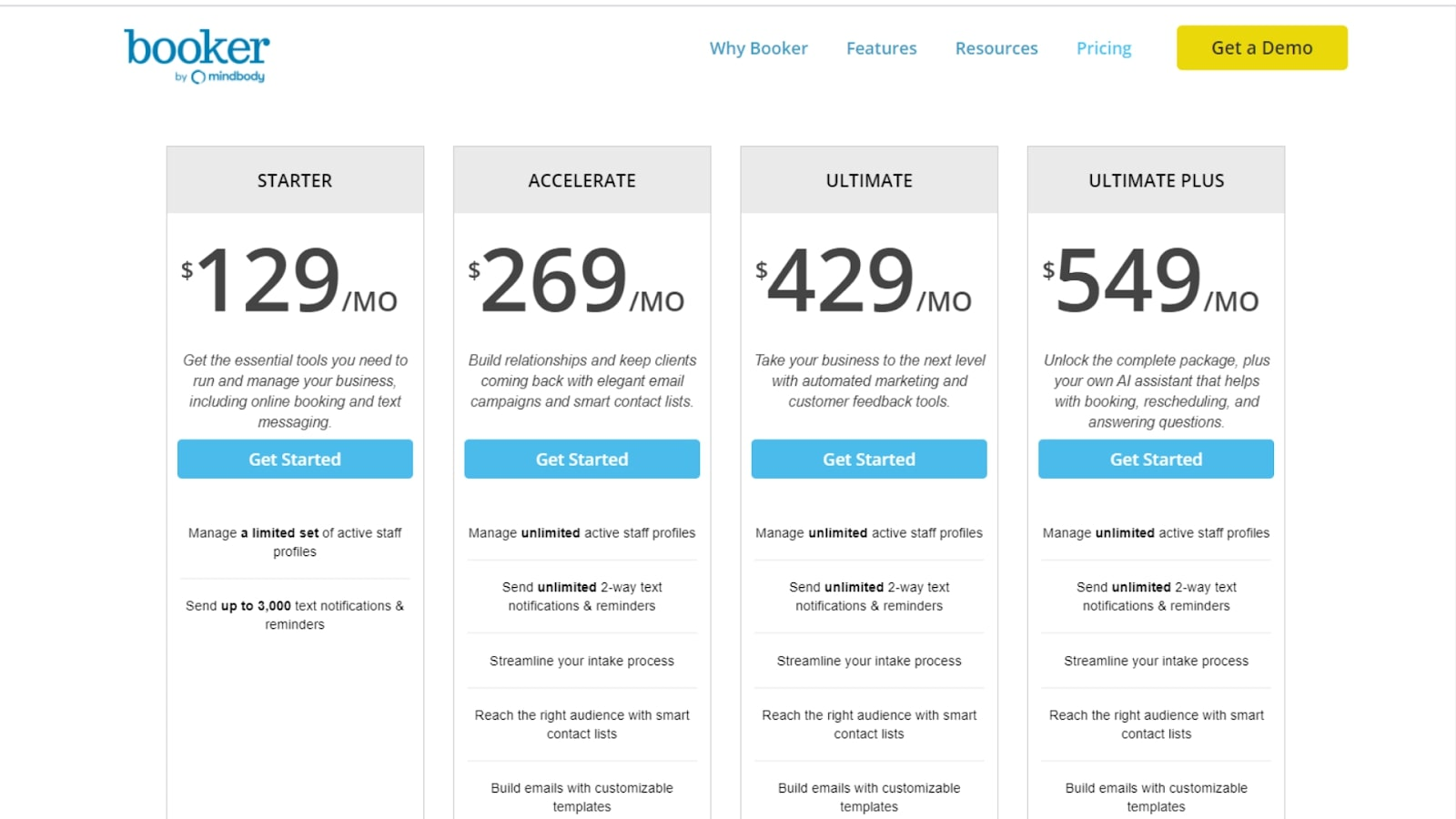 Booker POS pricing screenshot