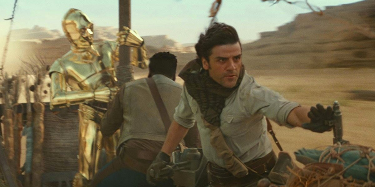 Poe, Finn, and 3PO in The Rise of Skywalker