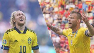 Sweden vs Ukraine live stream at Euro 2020 — Emil Forsberg of Sweden and Andriy Yarmolenko of Ukraine