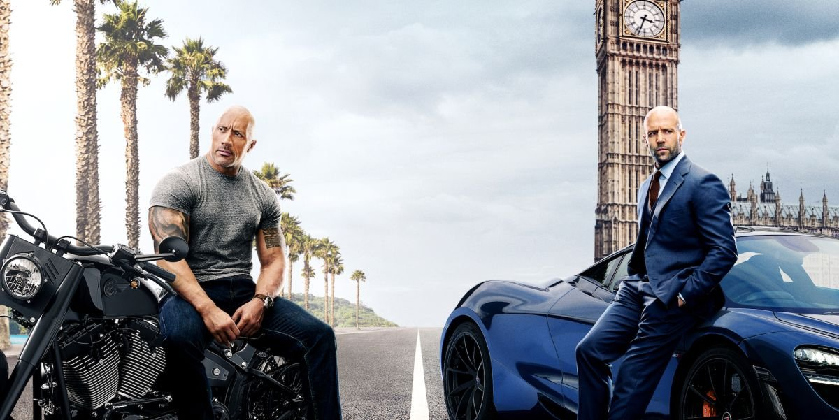 Dwayne Johnson and Jason Statham on Hobbs & Shaw poster