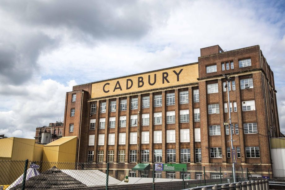 Exterior shot of the factory with the Cadbury sign