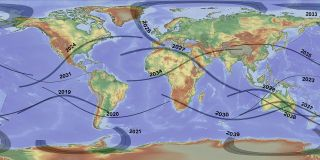 This map shows the paths of total solar eclipses to the year 2040.