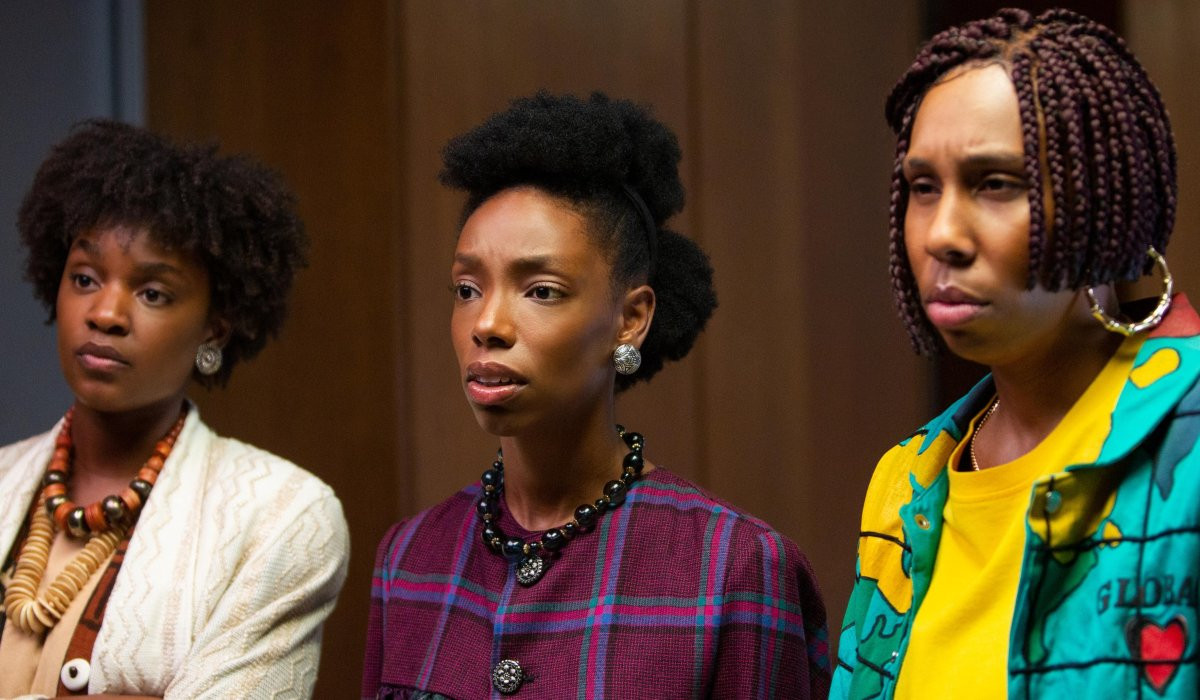 Bad Hair three ladies looking intrigued in the office