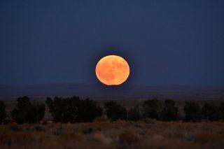 The Harvest Moon rises over Seedskadee National Wildlife Refuge in Wyoming on Sept. 16, 2016