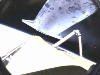 Endeavour's onboard camera shows the external fuel tank falling away following launch on May 16, 2011.