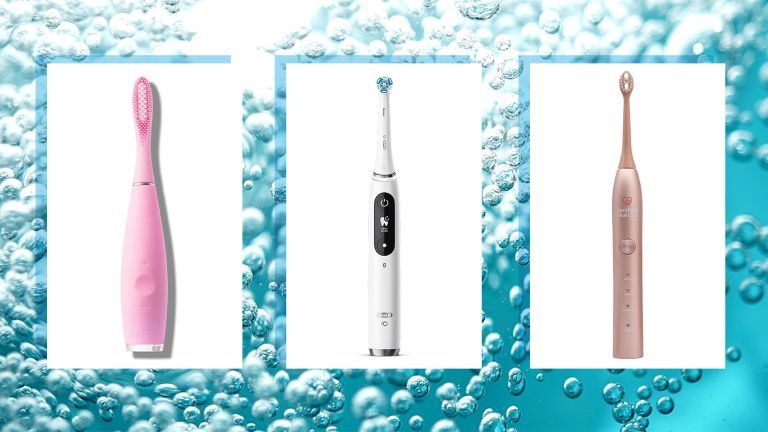 three of w&h's best electric toothbrush deals picks on a water bubbles background