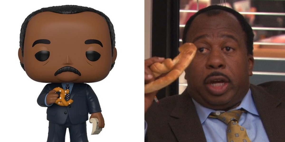 Leslie David Baker as Stanley with a pretzel on The Office