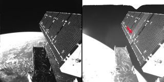 Sentinel-1A's solar array before and after the impact