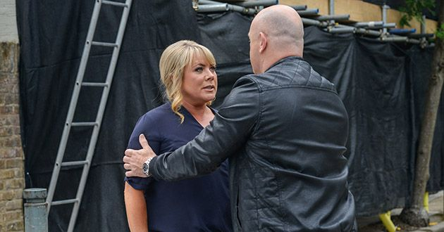 Sharon Mitchell tries to talk to Grant Mitchell in EastEnders.