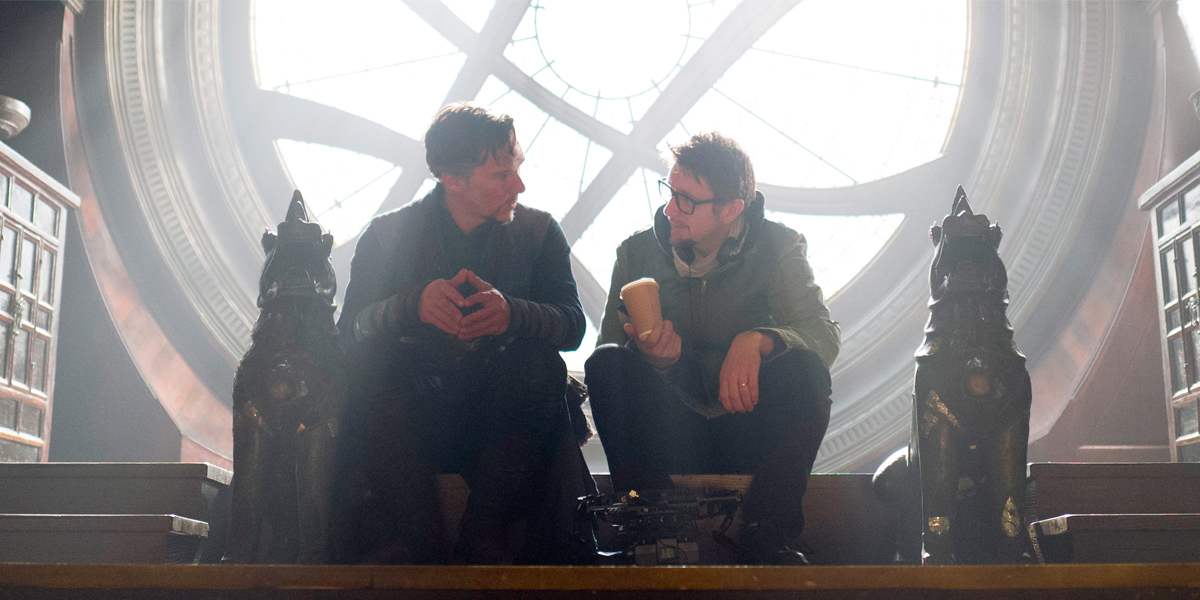 Scott Derrickson with Benedict Cumberbatch on the Doctor Strange set