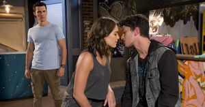 Jack Scully catches Paige Smith and Dustin Oliver kissing in Neighbours
