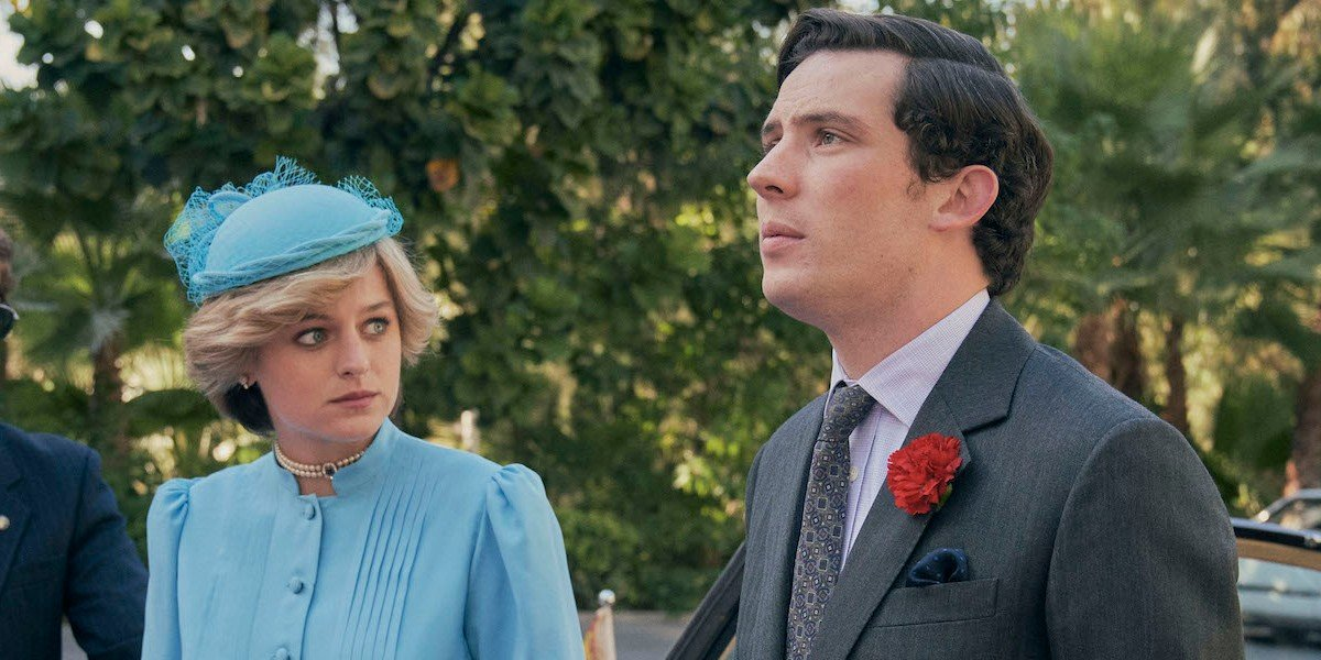 Emma Corrin as Lady Diana Spencer and Josh O'Connor as Prince Charles on The Crown (2020)