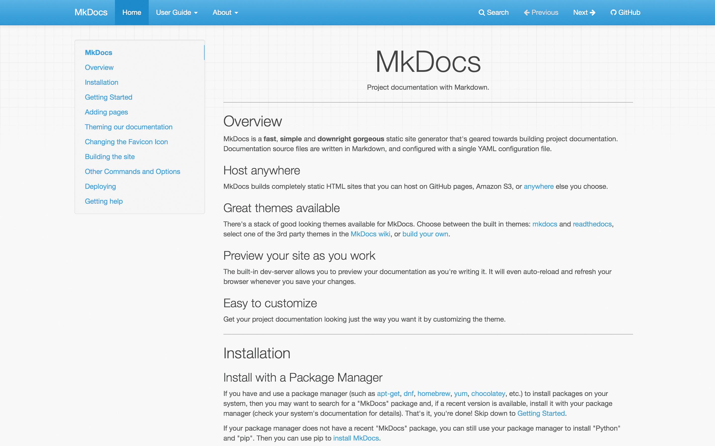 MkDocs homepage