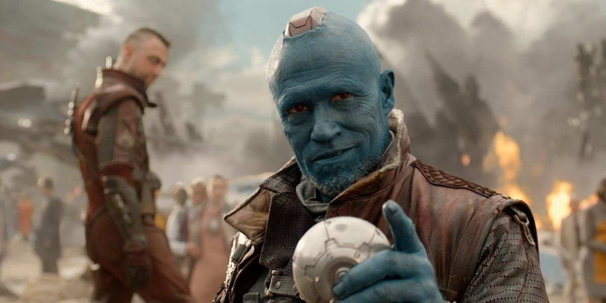 Yondu smirks while pointing at the camera in 'Guardians of the Galaxy'