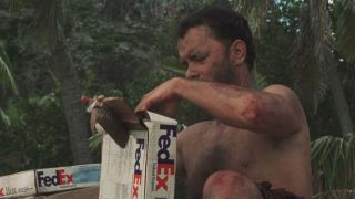 castaway still: Tom Hanks with FedEx