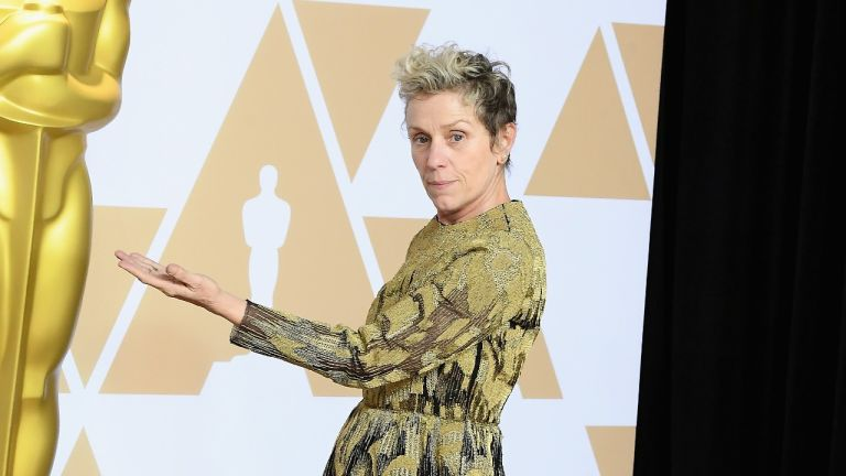 Actor Frances McDormand at the Oscars, winner of the Best Actress award for 'Three Billboards Outside Ebbing, Missouri' poses in the press room during the 90th Annual Academy Awards at Hollywood & Highland Center on March 4, 2018 in Hollywood