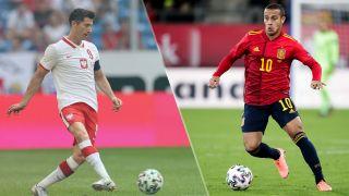 Spain vs Poland live stream at Euro 2020 — Robert Lewandoski of Poland and Thiago Alcantara of Spain