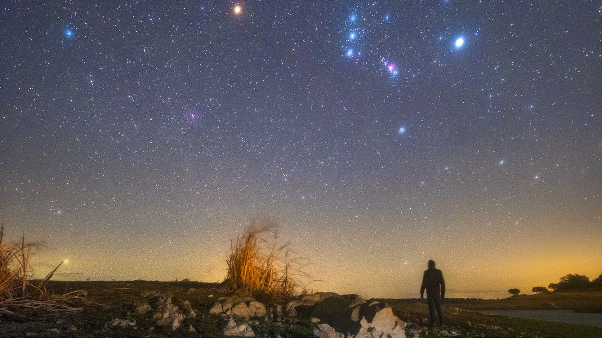 Orion and its dimming star Betelgeuse shine over a stargazer in this sentimental night-sky photo