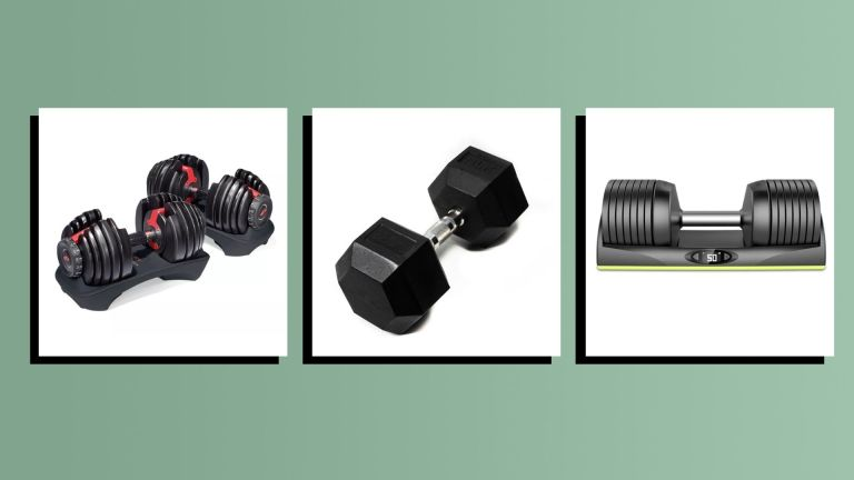 Three of the best dumbbells on green background