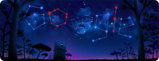 """Google"" is spelled out in stars, and also includes a sketch of a man's face."