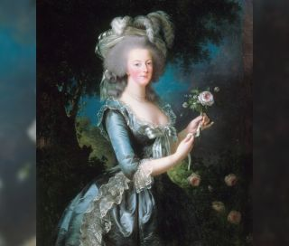 An oil painting by Elisabeth Vigee-Lebrun from 1783 shows Marie Antoinette with a rose, and it's hanging in the Musée de l'Histoire de France, Versailles, France.