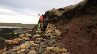 Archaeologists and volunteers are working to preserve human bones exposed by recent storms in an ancient cemetery above a beach on the Orkney Islands.