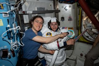 NASA astronauts Christina Koch and Jessica Meir, who recently completed the first all-woman spacewalk.