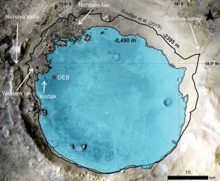 Inferred paleolake level inside Mars' Jezero Crater at the time of Kodiak sediment deposition. The red star indicates theOctavia E. Butler (OEB) landing site of NASA's Perseverance rover. Background from the Context Camera (CTX) mosaic.