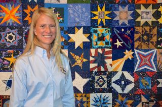 Karen Nyberg's Sewn-In-Space Star Quilt Square