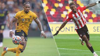 Wolverhampton Wanderers vs Brentford live stream — Adam Traore of Wolverhampton Wanderers and Ivan Toney of Brentford