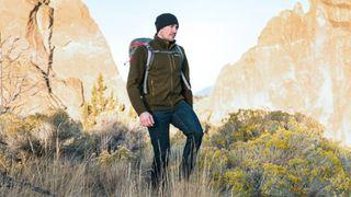 Hiker in fleece jacket