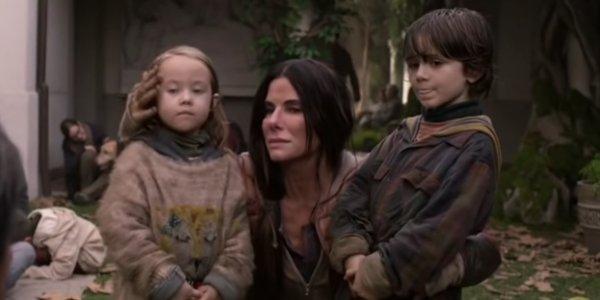 Malorie (Sandra Bullock) finally brings her kids to safety in Bird Box