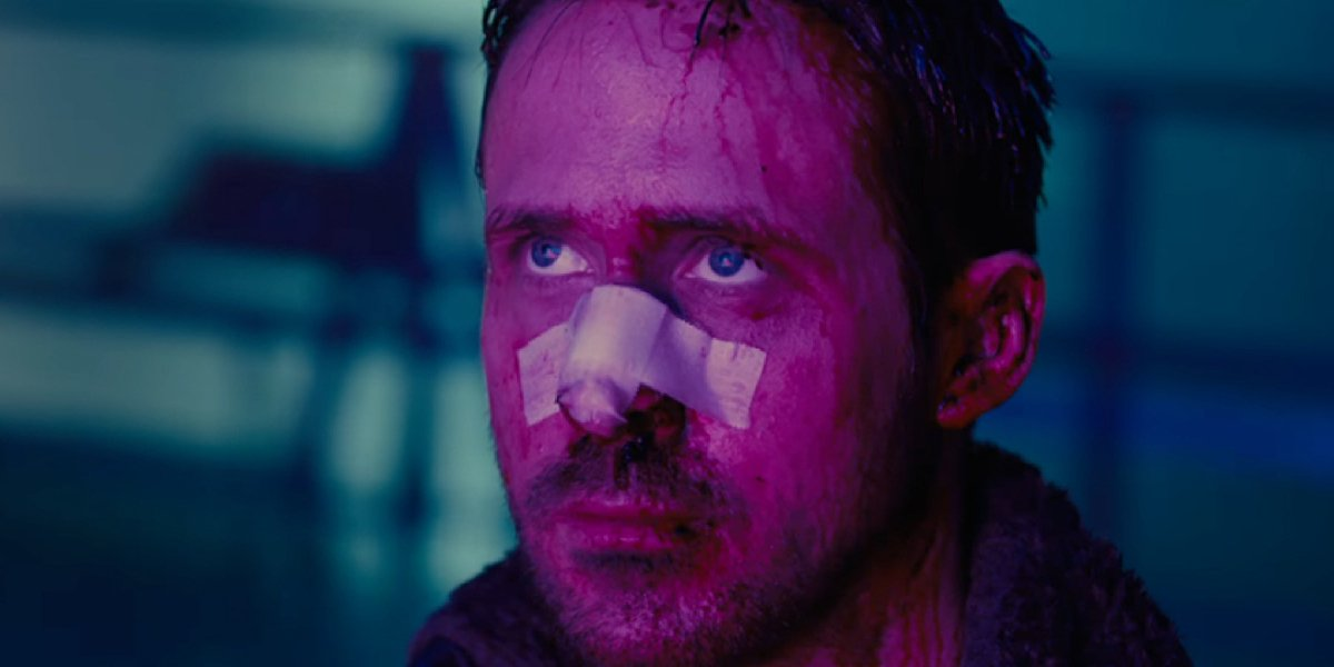 Blade Runner 2049 Ryan Gosling with a broken, bloodied face