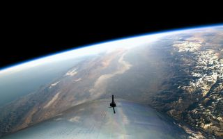 Virgin Galactic's VSS Unity spaceliner over Earth